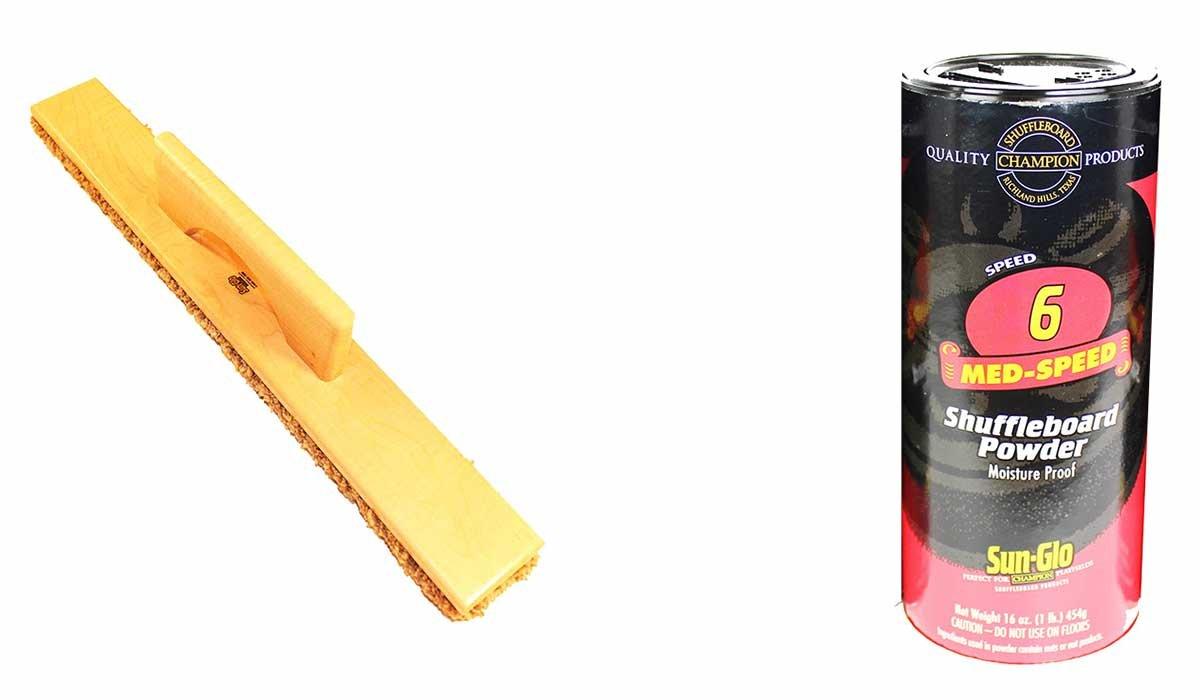 Sun-Glo Speed #6 Medium Speed Shuffleboard Table Powder Wax (16oz) & SWEEP BUNDLE