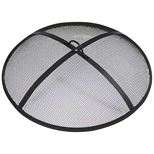Sunnydaze Outdoor Fire Pit Spark Screen Cover Guard Accessory - Round Heavy-Duty Steel Backyard Mesh Lid Ember Arrester with Handle - 40-Inch Diameter (Fire Pit Material Best)