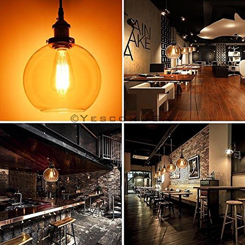 7.9'' Vintage Industrial Classic Amber Glass Pendant Light Ball Shade For Kitchen Living Room Home Restaurant Spa Hotel Coffee Shop Bar by Generic (Image #6)