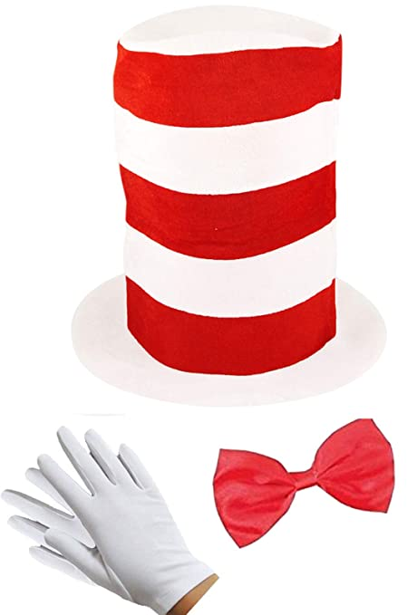 KIDS ADULTS CAT IN THE HAT FANCY DRESS HAT BOW TIE RED /& WHITE STRIPED BOOK DAY