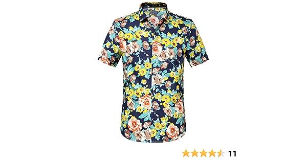 SSLR Camisa Hawaiana Colorida de Manga Corta de Estampado de Flores 3D Tropicales de Verano para Hombre