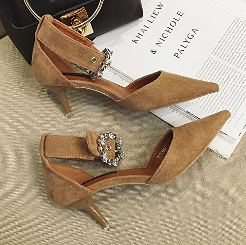 Temperament Buckle Fine Hollow Shoes With Elegant MDRW Heeled Shoes 5Cm Pointed Khaki Lady Leisure Rhinestone Work High Spring 38 Ladies Shoes 6 Temperament Suede PB0AqwP