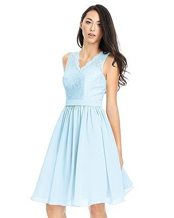 9ca9b8ec966 Zhongde Women s V-Neck Knee Length Short Homecoming Dresses Chiffon  Bridesmaid Dress Lace Bodice Baby