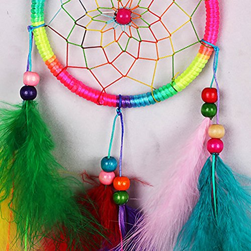 Indian Handmade Dream Catcher with Feathers Wall Hanging Ornament Craft Gift - Multicolor Ameesi