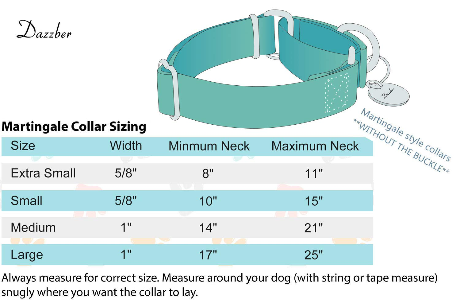 Dazzber Martingale Collar Dog Collar No Pull Pet Collar Heavy Duty Dog Martingale Collars Silky Soft with Unique Geometric Pattern for Medium and Large Dogs