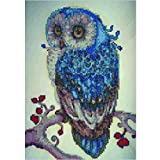 MXJSUA 5D Diamond Painting Kit by Numbers DIY Crystal Rhinestone Cross Stitch Embroidery Arts Craft Picture Supplies for Home Wall Decor,Blue Owl - 11.8x15.7 inches