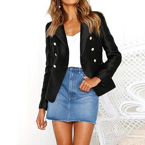 a07abcf1eb Dreamyth Women Long Sleeve Blazer Open Front Short Cardigan Suit Jacket  Work Office Coat (Black