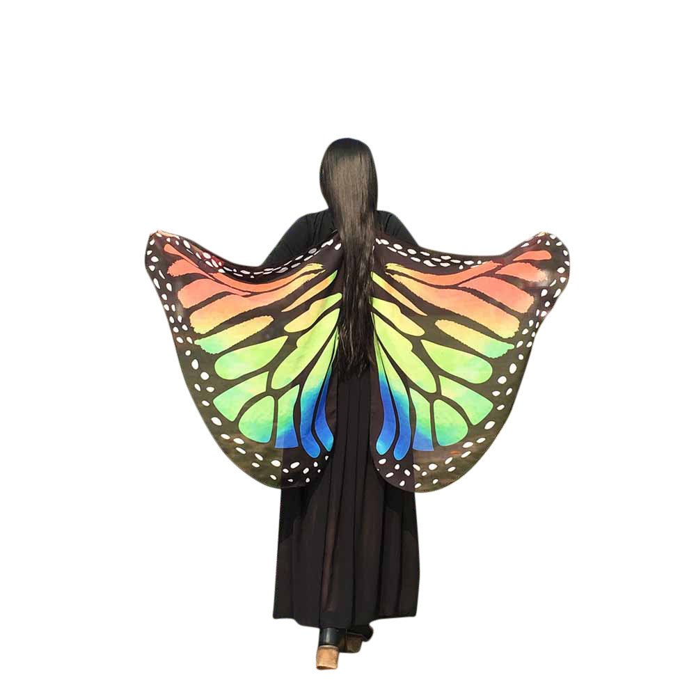 WOCACHI Vanlentine Day Halloween Costume Butterfly Wings Scarves, Women Cloak Cape Poncho Pixie Party Show Orange