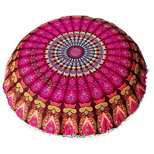 Round Bohemian Pillow Cover, Dirance Polyester Round Pillow ProtectorsLarge Mandala Floor Pillows Throw Pillow Case Meditation Cushion Cover Bed Sofa Home Decor (C)