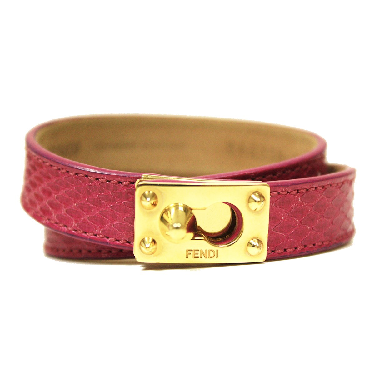 Fendi Pink Python Leather Double Stranded Bracelet 8AG230
