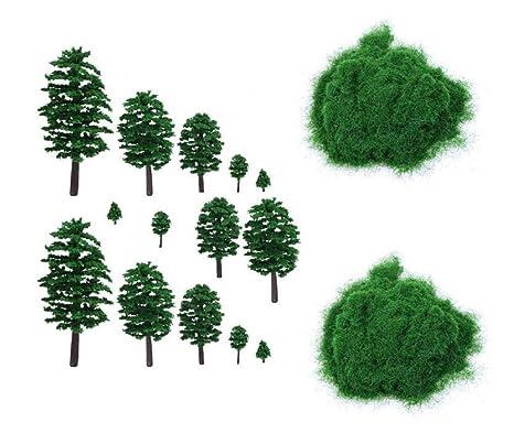 Yalulu - 14 árboles en Miniatura, árboles de ferrocarril ...