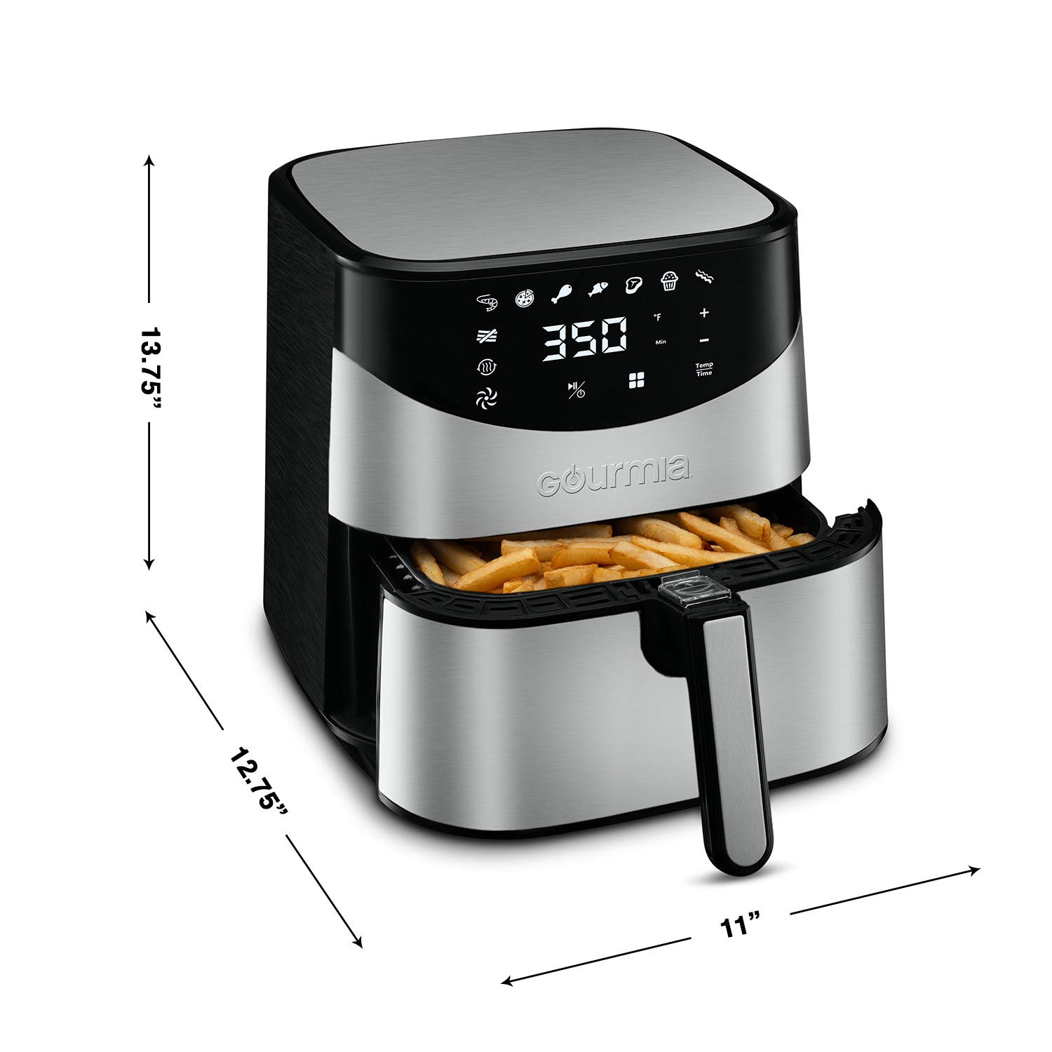 Gourmia GAF645 Digital Stainless Steel Air Fryer   Oil-Free Healthy Cooking   6-Quart Capacity   8 Cook Modes   Removable, Dishwasher-Safe Basket   Free Recipe Book Included by Gourmia (Image #6)