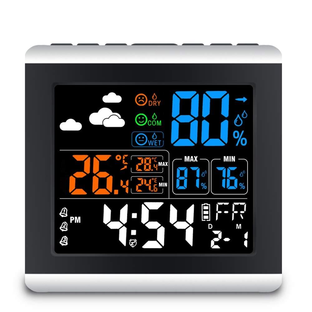 V.JUST LCD-Farb-Digital-Wecker Mit Temperatur-Thermometer Luftfeuchtigkeit Hygrometer Tisch Schreibtisch Wetterstation Geschenk