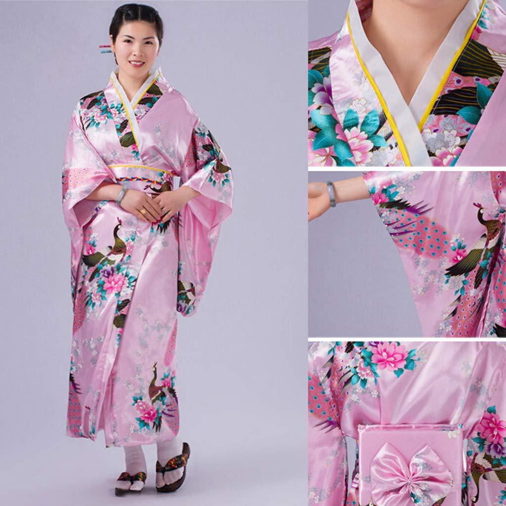 Ultramall Women's Print Kimono Robe Traditional Japanese Dress Photography Cosplay Costume(Pink,One Size) by Ultramall (Image #2)