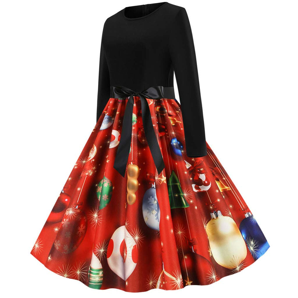 KFSO Womens Vintage Elegant Christmas Print Patchwork Long Sleeve 1950s Housewife Evening Party Prom Dress