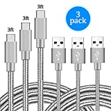 PC Hardware : USB Type C Cable, Arukas 3pack 3ft Braided Nylon USB-C to USB 3.0 Durability Powerline for Samsung Galaxy Note 8, S8, S8 Plus, Macbook, LG G6 V20 G5, Google Pixel (3p 3ft sliver)
