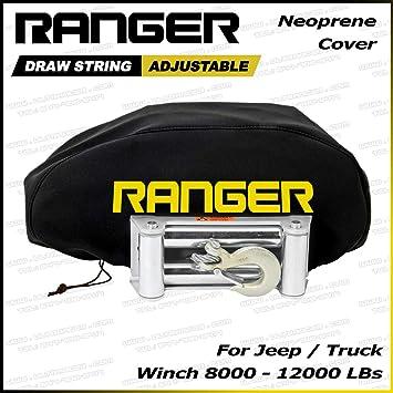 Ranger ATV UTV Weather-Resistant Neoprene Storage Winch Dust Cover for 2000-4500 lbs Winches