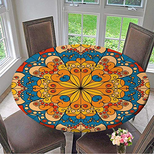 Two Arabesque Tier - Mikihome Round Premium Tablecloth Colorful Vector Patterned Background Arabesque Ornament Stain Resistant 47.5
