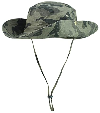 Panegy Camouflage Military Bucket Caps Outdoor Mesh Hiking Fishing Boonie  Hat - Army Green b2f1b07e817