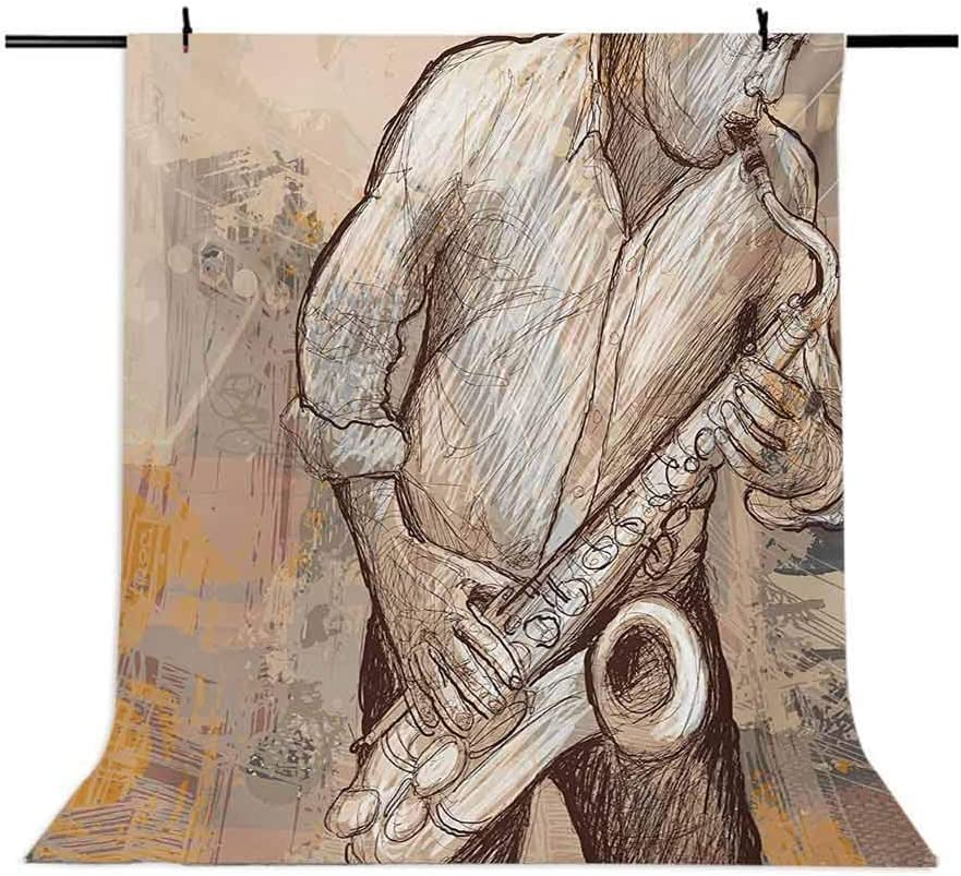 Jazz Musician Playing The Saxophone Solo in The Street on Grunge Art Background for Kid Baby Boy Girl Artistic Portrait Photo Shoot Studio Props Video Drape Vinyl 10x12 FT Photography Backdrop