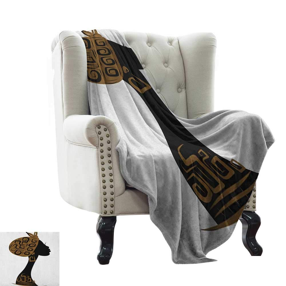 color08 60 x78  Inch Weighted Blanket for Kids African Woman,Local Lady Indigenous Ethnic Patterned Dress Gesture Silhouette, Charcoal Grey Vermilion Microfiber All Season Blanket for Bed or Couch Multicolor 50 x60