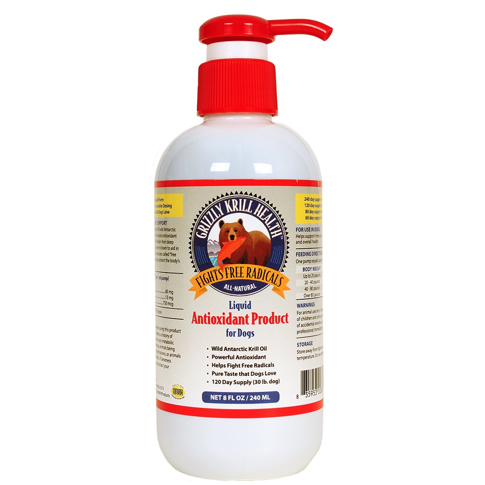 Grizzly Krill Health Liquid Antioxidant Product for Dogs 8 Ounce by Grizzly Pet Products