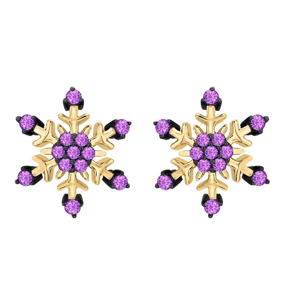 Womens Fashion Beautiful Purple Amethyst Snowflake Earrings 14K White Gold Over .925 Sterling Silver