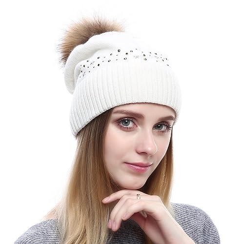 VEMOLLA Cappello Berretto per le donne a maglia di lana con pon pon in pelliccia di procione