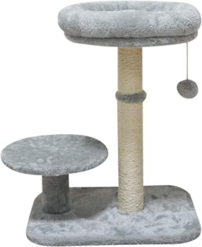 MIAO PAW Cat Tree Tower Condo Sisal Post Scratching Furniture Activity Center Kitten Play House Cat Bed Grey