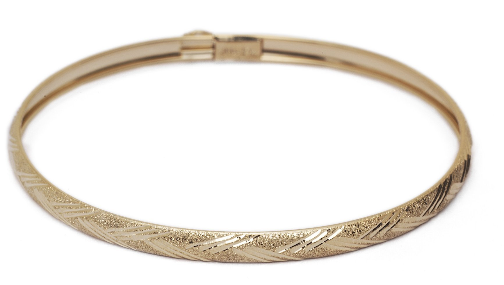 "8 Inch 10k Yellow Gold bangle bracelet Flexible Round with Diamond Cut Design (0.16"")"