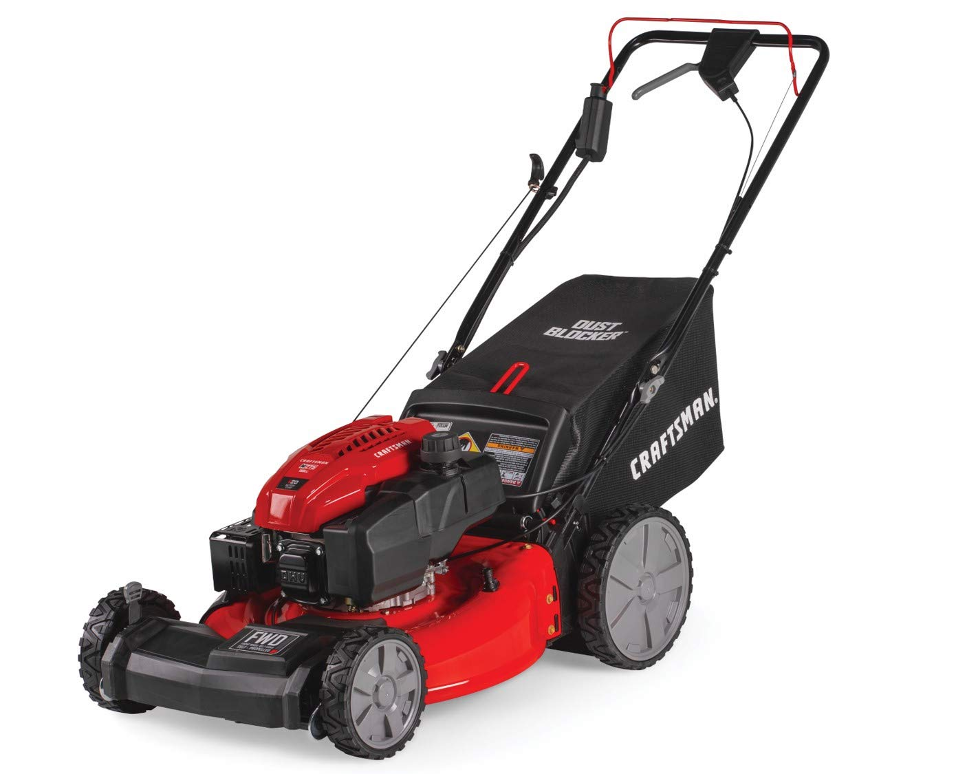 Craftsman M275 159cc 21-Inch 3-in-1 High-Wheeled Self-Propelled FWD Gas Powered Lawn Mower, with Bagger, Red 1 POWERFUL 159CC OHV GAS ENGINE: Powerful gas engine with 21-inch cutting deck to trim grass in one quick pass. 3-IN-1 CAPABILITIES: Unit has side discharge, rear discharge, and mulching capabilities. FRONT WHEEL DRIVE AND SELF-PROPELLED: Move around your yard with less effort at the propulsion speed of your choice.