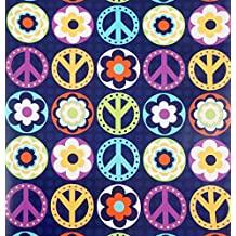 """Peace Love Happiness Gift Wrap Roll with Gift Tags - 24"""" x 18'"""