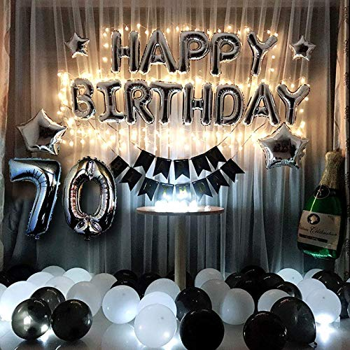 70th Birthday Party Decorations Kit Black and Silver Birthday Decorations Men Women - Led Birthday String Lights, Sliver 70 Foil Balloon, Happy Birthday Banner, Star, Black & White Latex Balloon ()