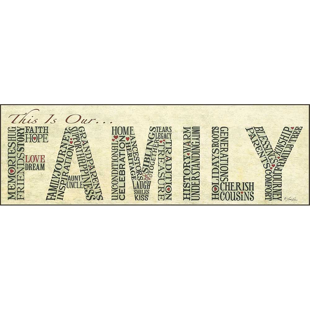 Dicksons This Is Our Family Calligram Brushed Ivory 6 x 18 Wood Wall Sign Plaque