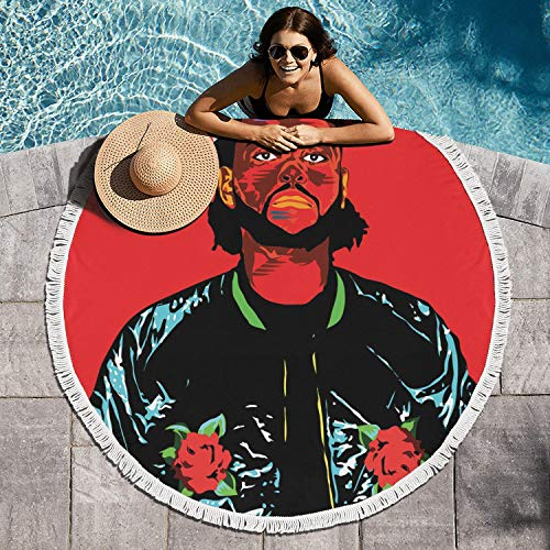AnTPower Boho Soft Microfiber Yoga Mat Round Beach Towel Blanket Soft Absorbent Table Cloth Roundie Circle Beach Towel Blanket (60in Extra - Xo Blanket The Weeknd