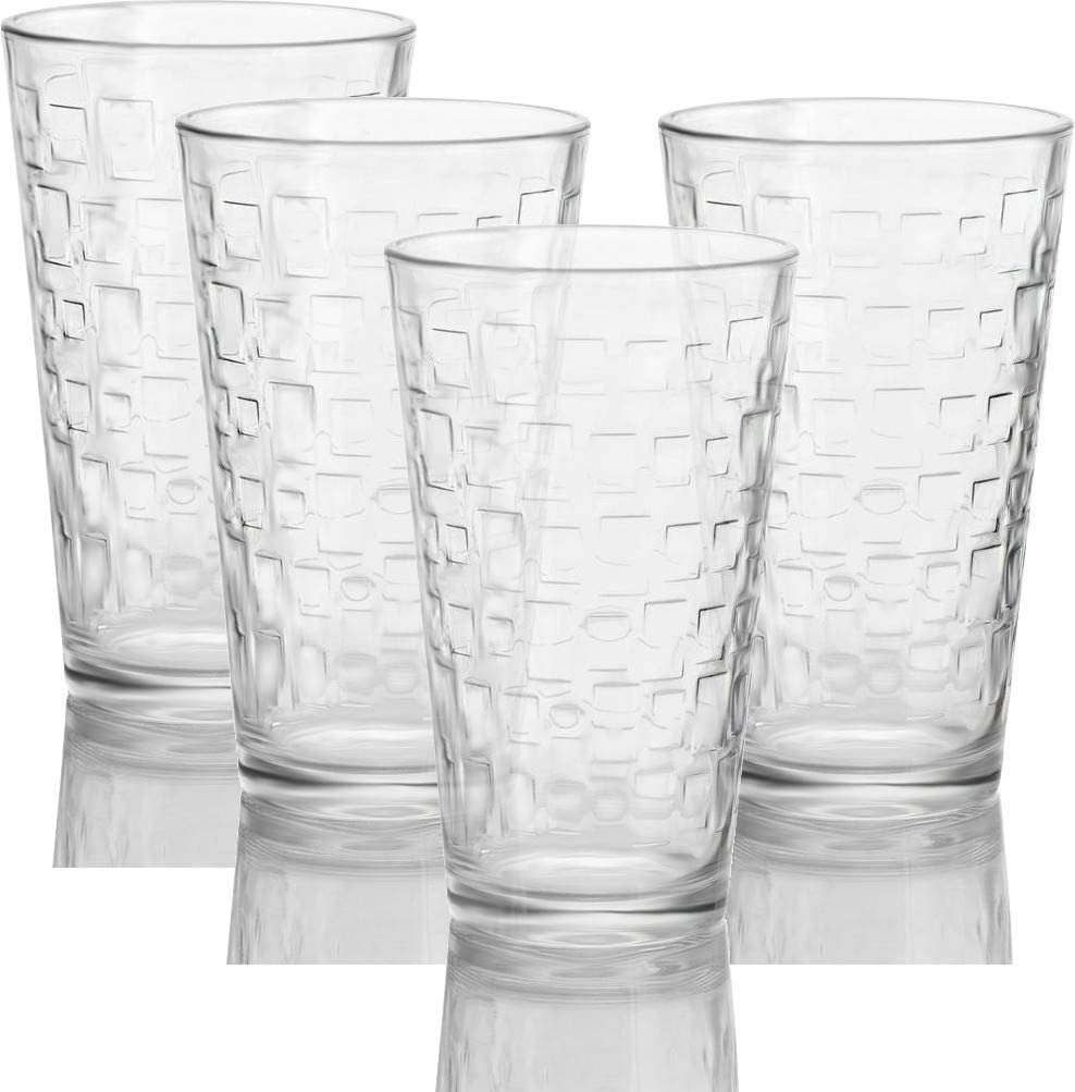 Circleware 40200 Set of 4 Tumbler Cooler Blocks Beverage Glasses Heavy Base Drinking Highball, Cups for Water, Juice, Milk, Beer, Ice Tea, 15.7 oz,