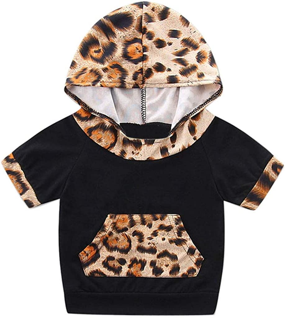 Toddler Baby Boys Leopard Print Short Sleeve Sweatshirt Top Shorts Outfits Infant Kids Clothes Fanteecy Summer Hoodie Set