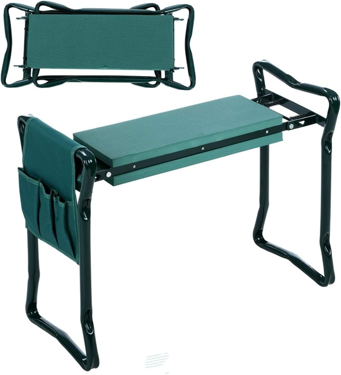 Foldable Kneeler Garden Bench Stool Kneeling Soft Cushion Seat Pad w// Tool Pouch