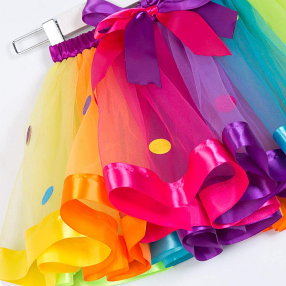 TENDYCOCO Girls Elastic Waist Rainbow Tutu Skirt with Big Bowknot Party Dress up Tulle Skirt SX-RT077 S