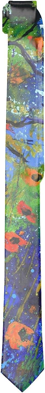 Mens Bright Summer Flowers Neck Ties Printed Slim Skinny Ties for Men