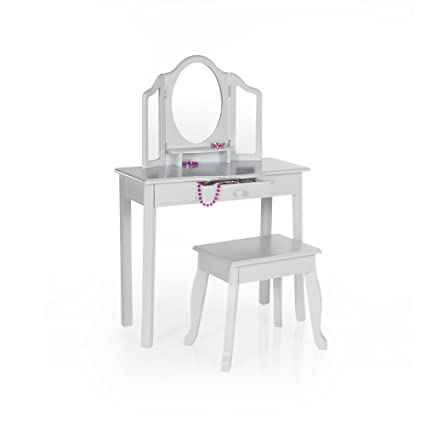 Amazon.com: Guidecraft Vanity and Stool – Grey: Kids\' Wooden Table ...