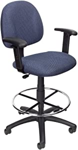 Boss Office Products Ergonomic Works Drafting Chair with Adjustable Arms in Blue