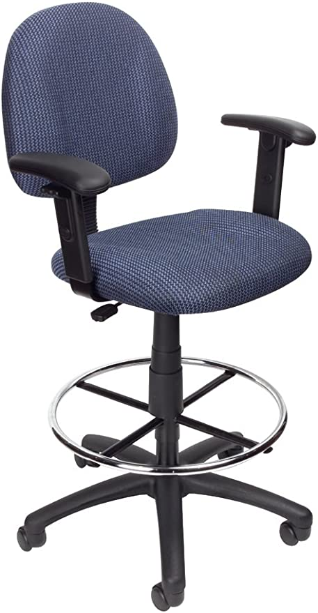 Blue Tweed Fabric Drafting Stool with Fixed Loop Arms
