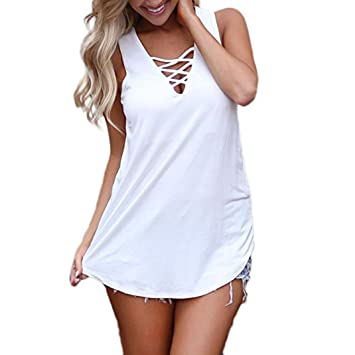 2018 Women Summer V Neck Vest Vovotrade Solid Sleeveless Tank Top Casual Slim Cami T Shirt (XL, Pink)