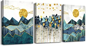 3 Pieces Framed Canvas Wall Art for Living Room abstract Painting Bathroom Wall Decoration golden Abstract Geometry picture wall Artwork modern Bedroom Wall decor Office Home Decoration