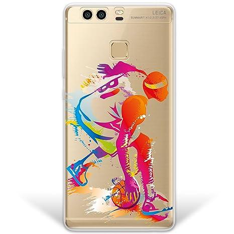 WoowCase Funda Huawei P9 Plus, [Hybrid] Jugador de Baloncesto 2 Case Carcasa [Huawei P9 Plus] Rígida Fabricada en Policarbonato y Bordes de TPU ...