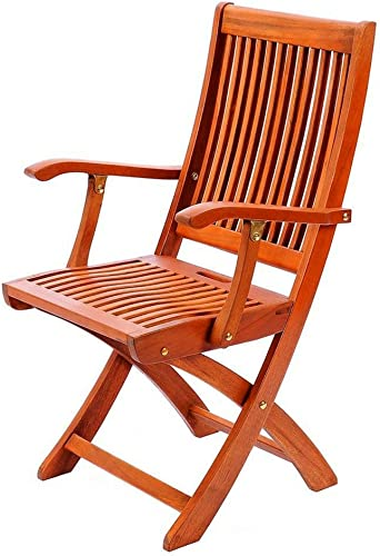 BS Wood Folding Chair Lounge Chair with Arms Outdoor Indoor Piato Garden Home Camping Poolside Durable Comfortable Seat and Back Rest Easy Storage UV Resistant eBook by BADA Shop