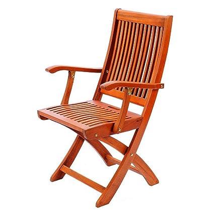 Amazon.com: Silla de salón plegable de madera con brazos ...