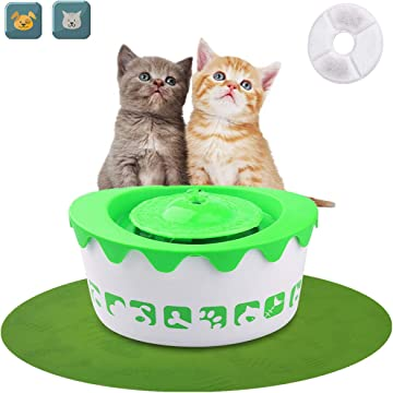 LOGROTATE Pet Fountain Cat Water Dispenser – Automatic Pet Water Fountain Electric Animal Drinking Fountain 1.8L with Filter for Cats, Dogs and Small Animals