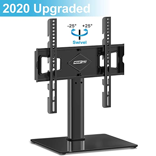 MOUNTPRO Universal Swivel TV Stand – Tabletop TV Stand for 27-50 inch LCD LED TVs – Height Adjustable TV Base Stand with Tempered Glass Base Wire Management, VESA 400x400mm, Holds up to 66lbs